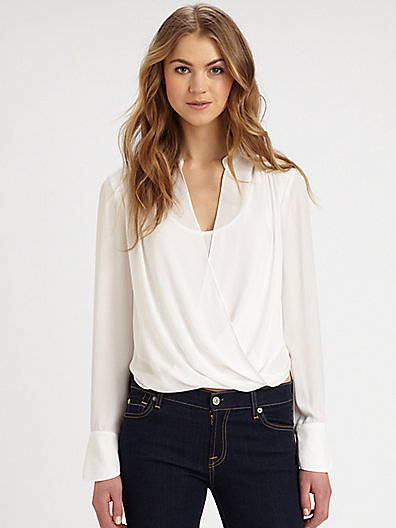 Consider this BCBG Max Azria Jaklyn crossover draped blouse ($158) your fresh alternative to the white button-down.