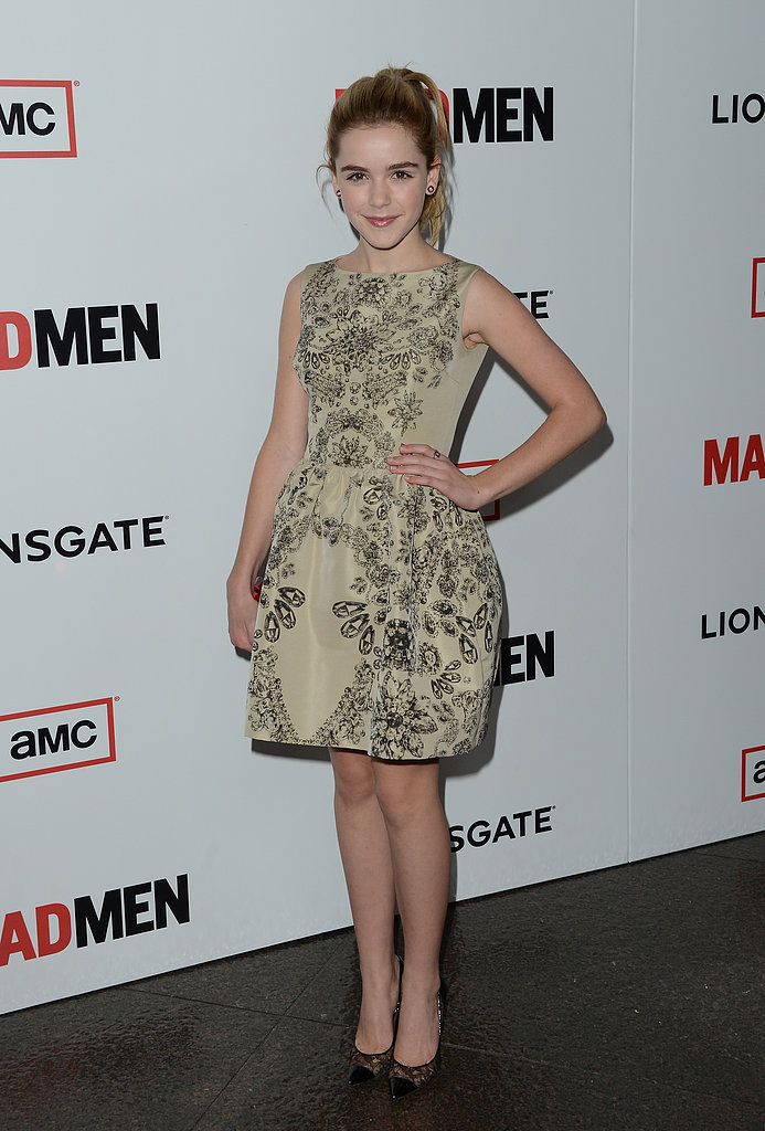 Mad Men's youngest leading lady, Kiernan Shipka, opted for a sweet, floral-print, tulip-skirted minidress and capt-toed lace heels.