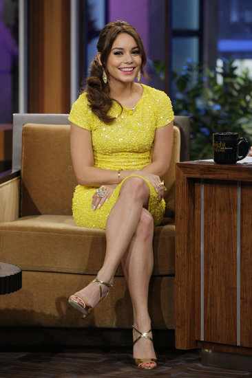 Vanessa Hudgens stopped by The Tonight Show With Jay Leno in a dazzling yellow sequined Alice + Olivia dress with gold Jerome C. Rousseau sandals.