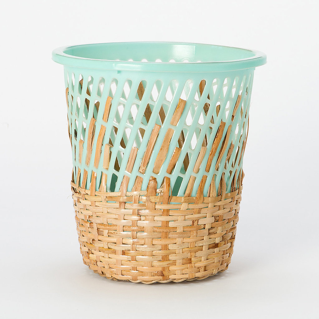 Teal plastic adds an eclectic, modern touch to this rattan storage basket ($48).