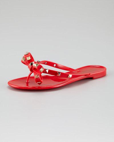 Valentino Rockstud Metallic Bow Jelly, Red