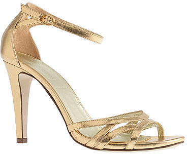 Metallic leather high-heel sandals
