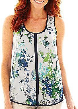 Liz Claiborne Sleeveless Floral Tank Top