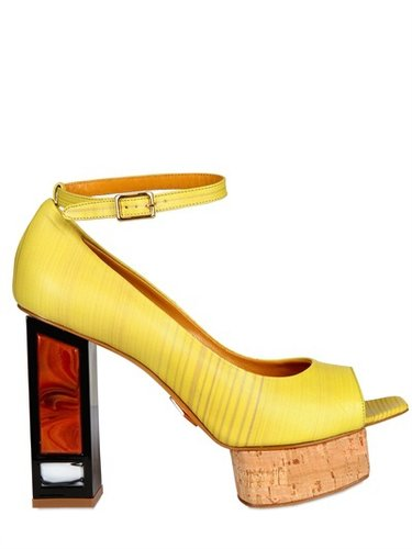 110mm Brushed Leather Pumps