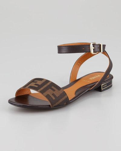 Fendi Zucca Ankle-Wrap Flat Sandal