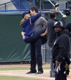 Jennifer Love Hewitt showed PDA with costar Brian Hallisay while shooting a baseball scene for The Client List on Monday in LA.