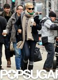 Charlize Theron arrived on the set of Hatfields & McCoys on  Thursday in Boston.