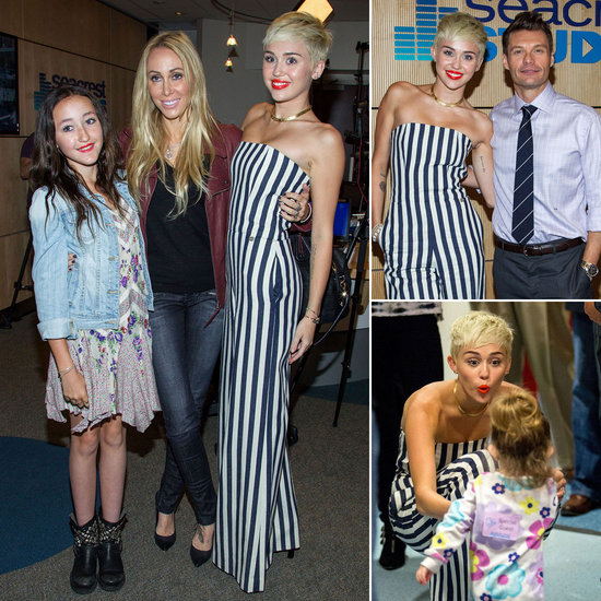 Miley Cyrus In Stripes With Mum, Sister And Ryan Seacrest ...