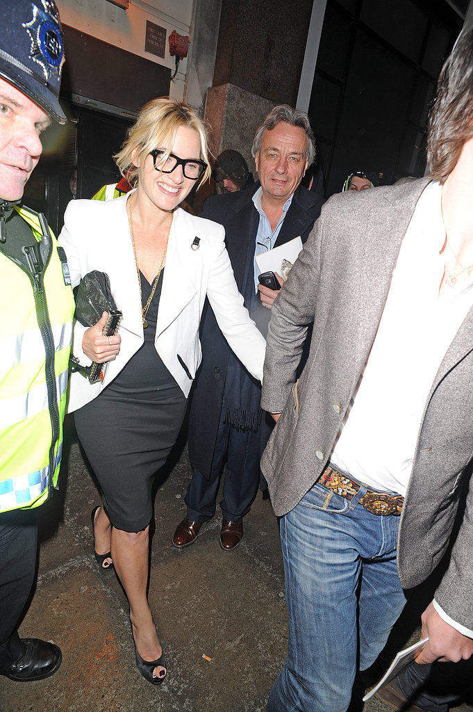 Kate Winslet and Ned Rocknroll left the Prince of Wales Theatre.