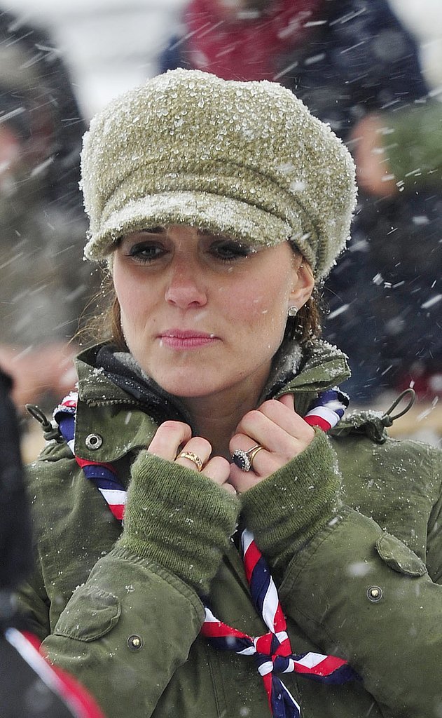 Kate Middleton tried to keep warm while it was snowing.