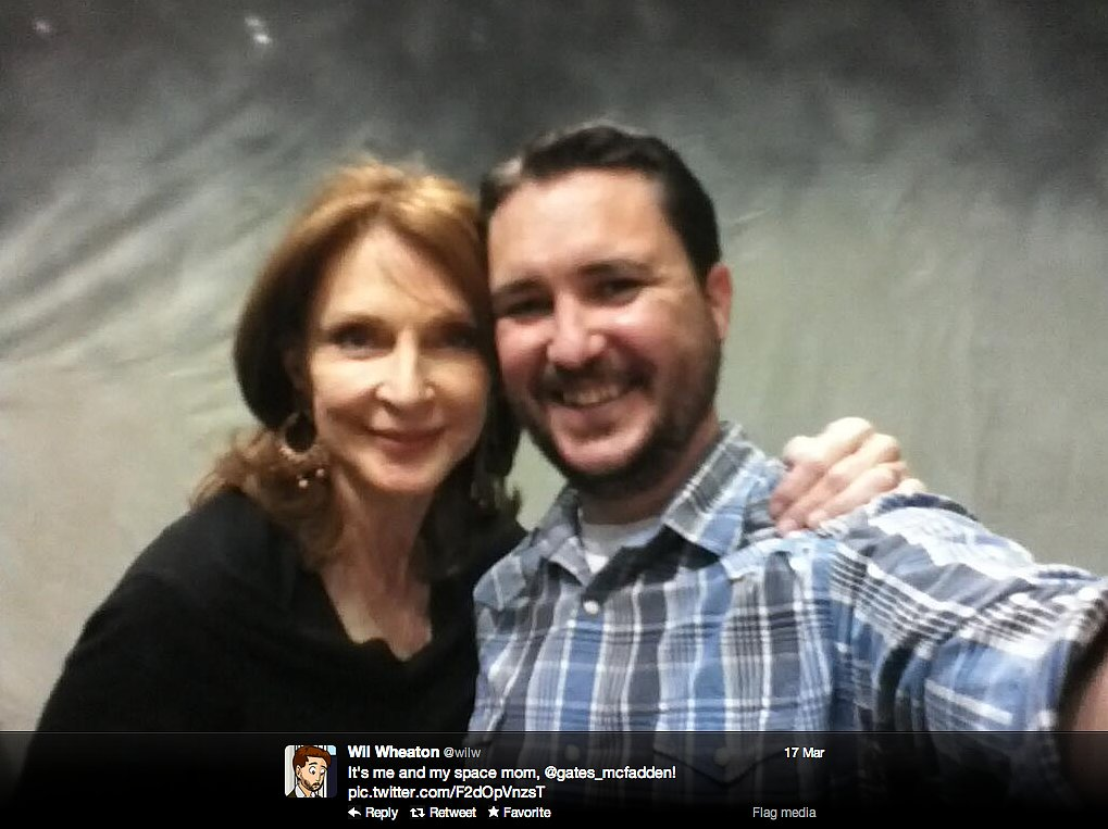 Actor Will Wheaton reunites with Gates McFadden, who played Dr. Beverly Crusher in Star Trek: The Next Generation, at MegaCon in Orlando, FL.