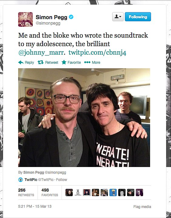 Actor, writer, and man-about-town Simon Pegg rubs shoulders with the legendary Johnny Marr, guitarist of The Smiths.