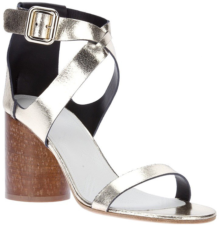 A bit of a splurge, but worth the investment, these Maison Martin Margiela crossover-strap sandals ($591) boast an easy-on-your-feet stacked wood heel that doubles as a great contrast to the cool silver leather.