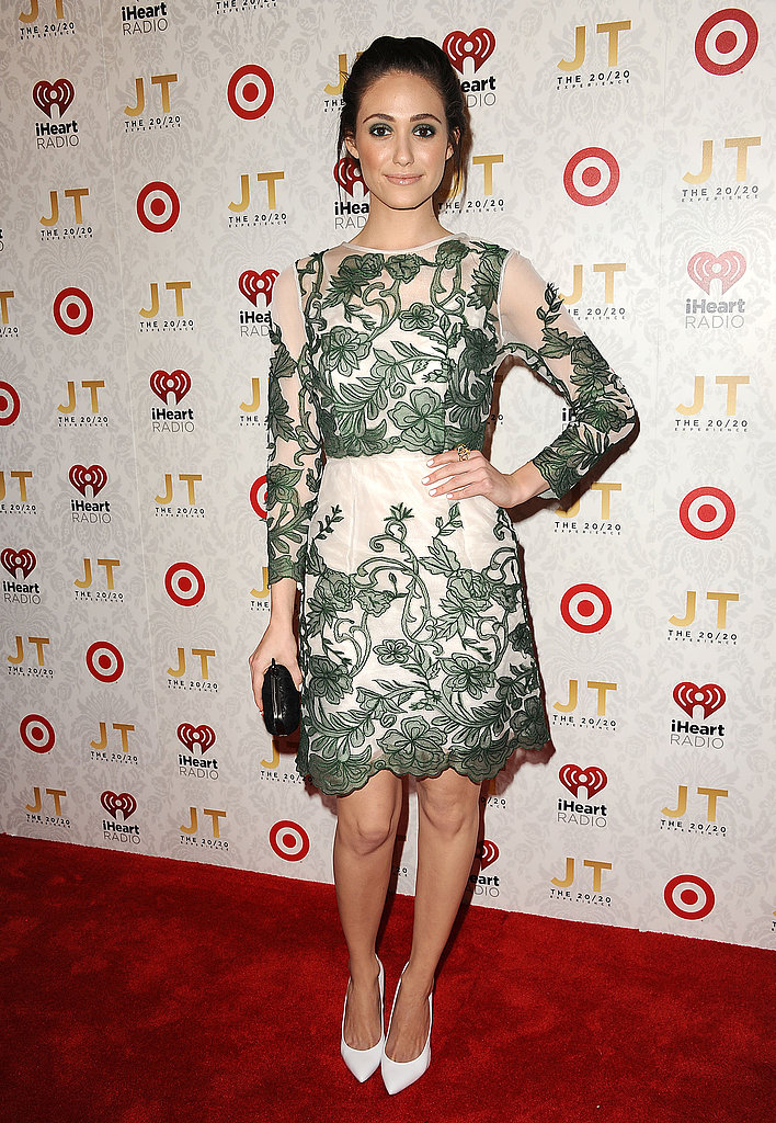Emmy Rossum looked absolutely lovely in a floral-embroidered Topshop dress at Justin Timberlake's album release party.