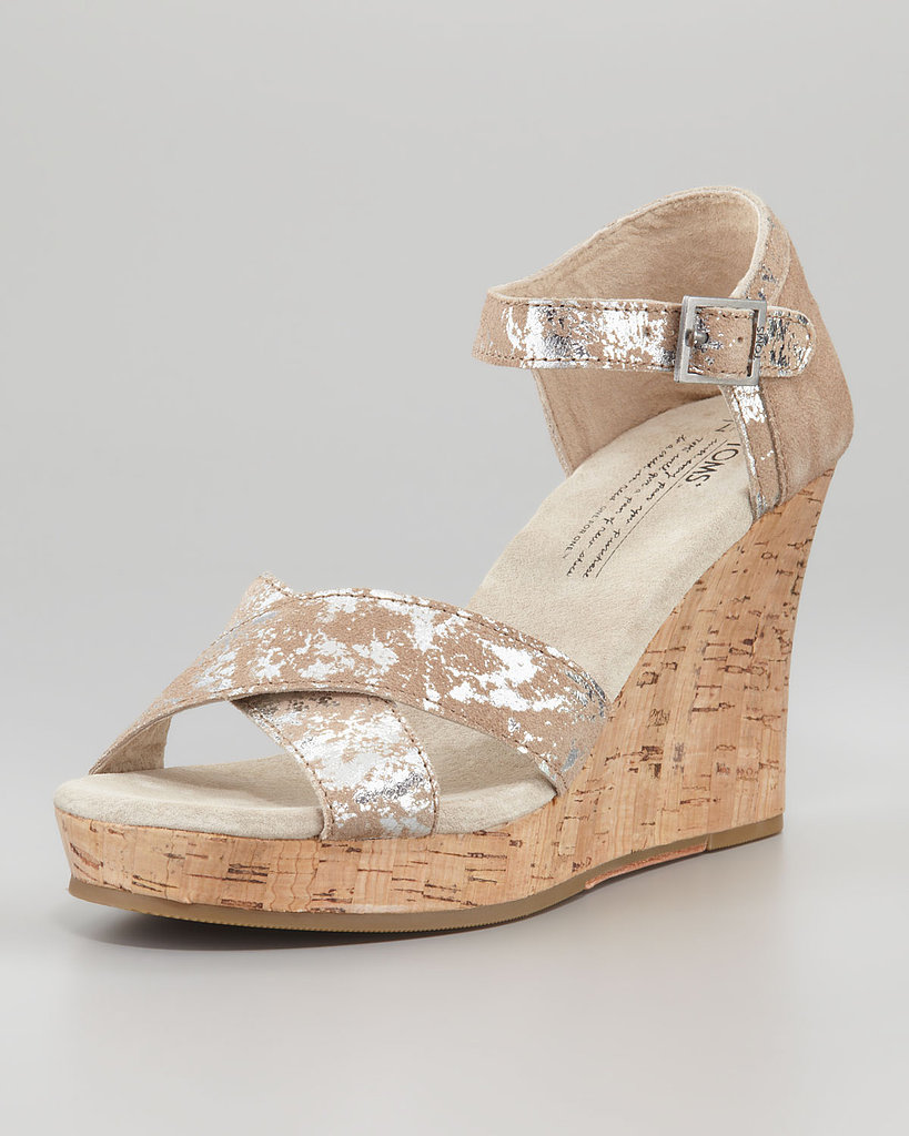TOMS Brushed Metallic Cork Wedges