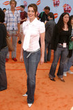 Anne Hathaway styled a white tie-bedecked blouse with jeans at the 2004 Kids' Choice Awards.