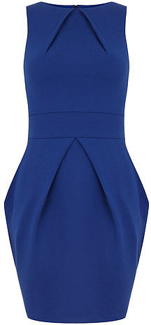 Blue pleat neck dress