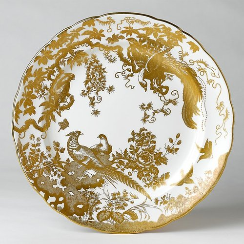 "Royal Crown Derby ""Gold Aves"" Dinner Plate, 10"""