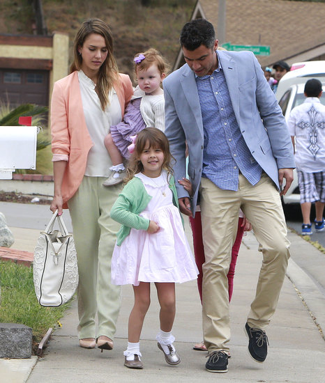Jessica Alba and Cash Warren wore Easter pastels with their daughters, Honor and Haven, in LA Sunday.