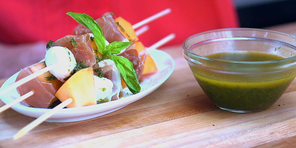 Make These Melon, Mozzarella, and Jamón Skewers at Your Next Party