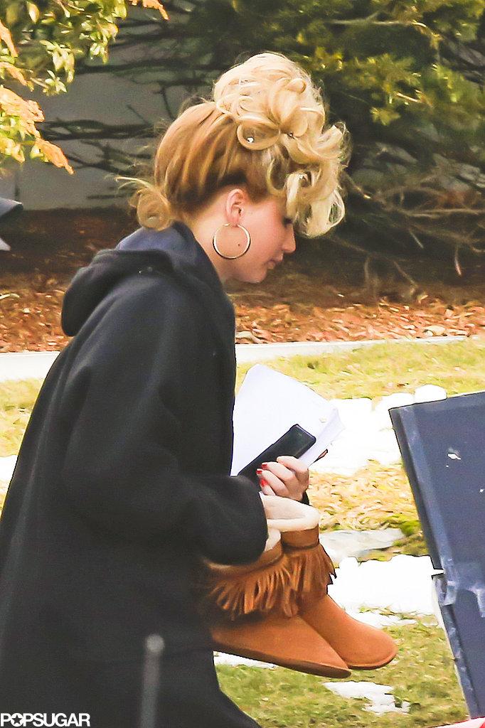 Jennifer Lawrence Sports a Crazy 'Do on Her Boston Set With Bradley