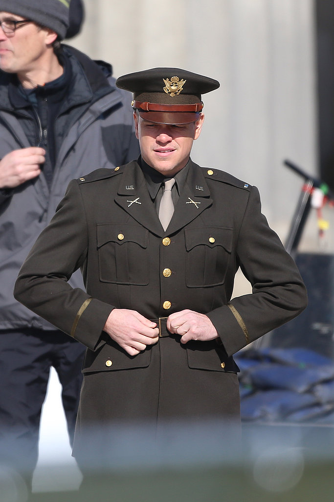 Matt Damon suited up while shooting The Monuments Men in Berlin.
