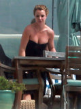 Britney Spears Sports a Striped Bikini in the Malibu Sun