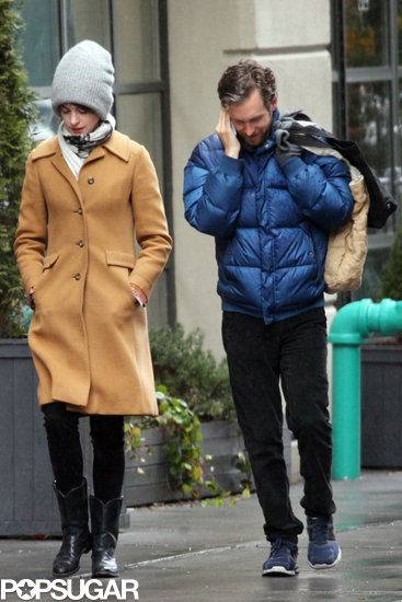 Anne Hathaway bundled up for the outing in NYC.