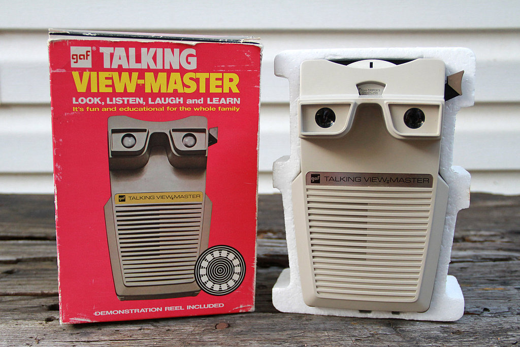 View-masters certainly had their lo-fi day, but did you know one model also spoke? Check out the GAF Talking View-Master, with packaging as friendly as the toy.  Source: Etsy user vintage05