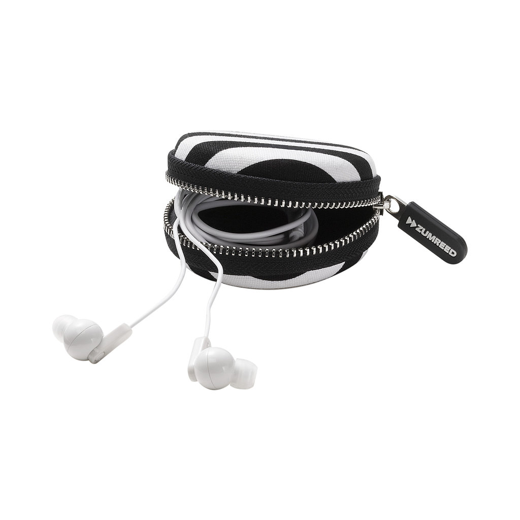 Keep Zumreed's Canty Ear Buds ($20) safe in a round, black-and-white zippered case. The buds also come in pink.