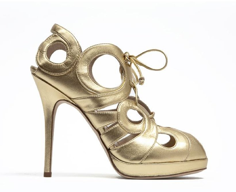 Monique Lhuillier Gold Matt Lam Pump ($940)