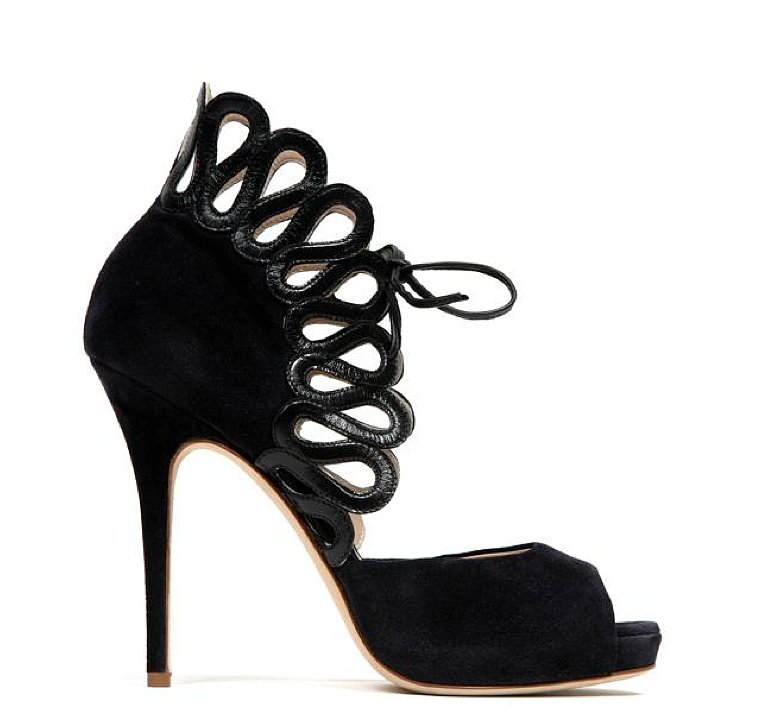Monique Lhuillier Ink Suede/Leather Combo Sandal ($970)