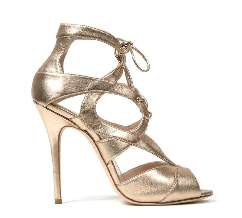 Monique Lhuillier Allover Gold Burma Sandal ($895)