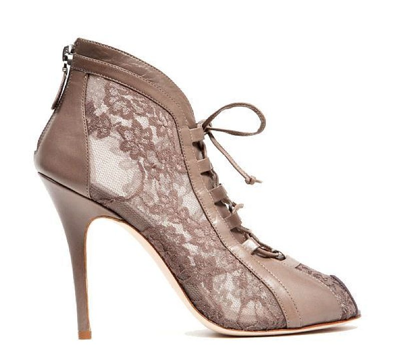 Monique Lhuillier Taupe Lace Over Mesh Bootie ($895)
