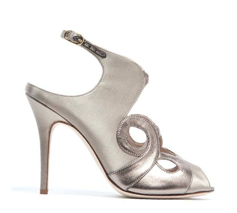 Monique Lhuillier Satin/Gloss Lam Sandal ($890)