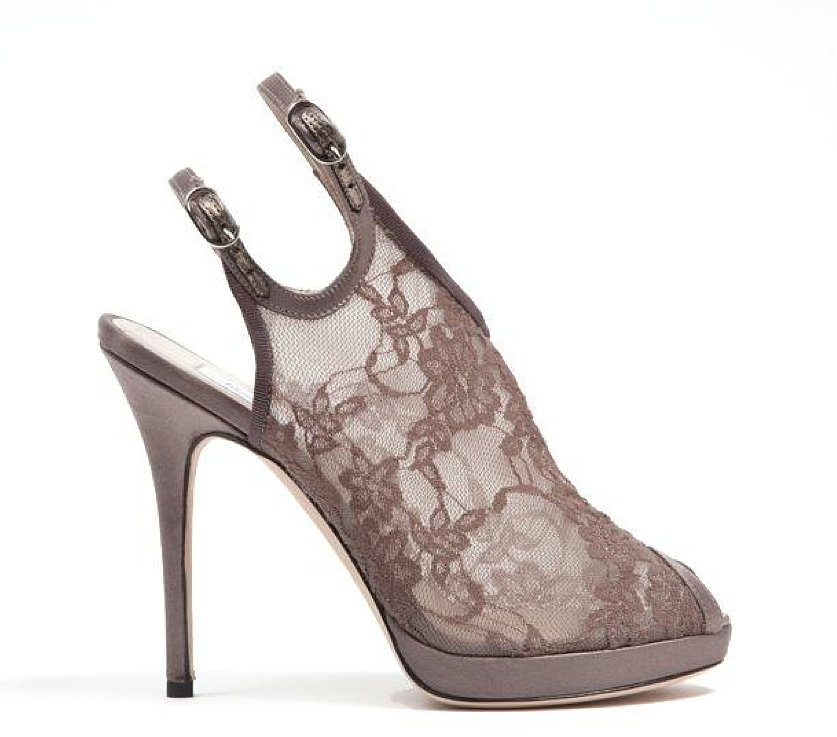 Monique Lhuillier Taupe Lace Over Mesh Sandal ($875)