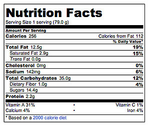 Carrot Cake Nutritional Information