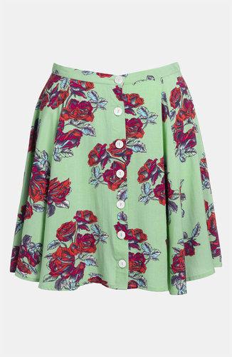 MINKPINK High Waist Print Skater Skirt