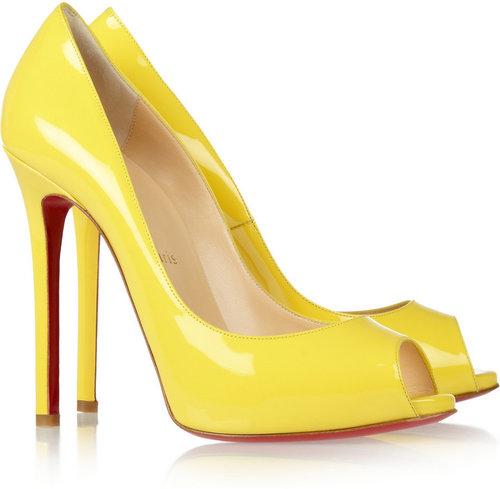 Christian Louboutin Flo 120 patent-leather peep-toe pumps