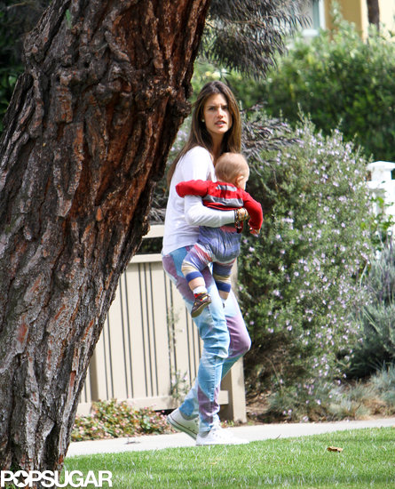 Alessandra Ambrosio played with her son, Noah, in LA.