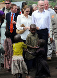Angelina Jolie visited with victims of sexual violence in the Democratic Republic of Congo with Britain's Foreign Secretary William Hague.