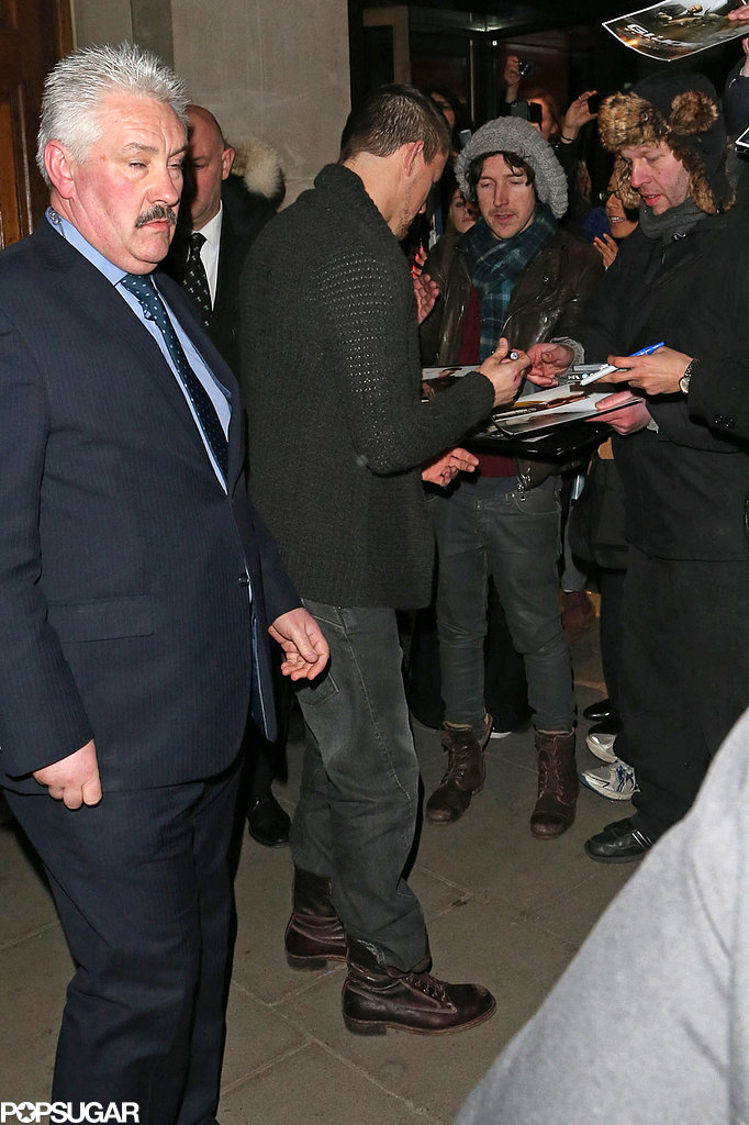 Channing Tatum signed autographs outside the event in London on Tuesday.
