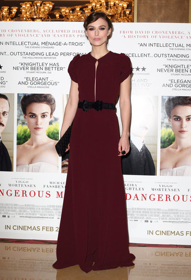 The actress made a standout arrival at the A Dangerous Method premiere in London in a burgundy-hued Burberry gown.
