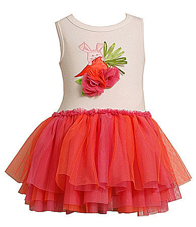 For a brighter, more playful look, go with Bonnie Baby's Easter Tutu ($25) with an orange and fuchsia skirt and a matching rabbit appliqué.