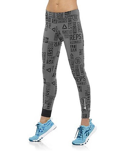 In need of a little help to make it through those final reps? These PWR Reebok leggings ($60) are covered in extra motivation.