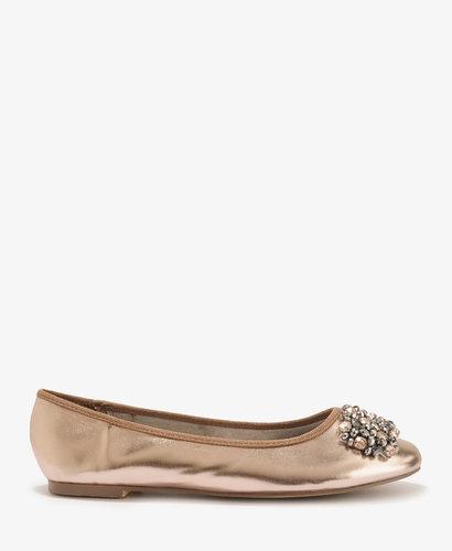FOREVER 21 Rhinestoned Patent Ballet Flats