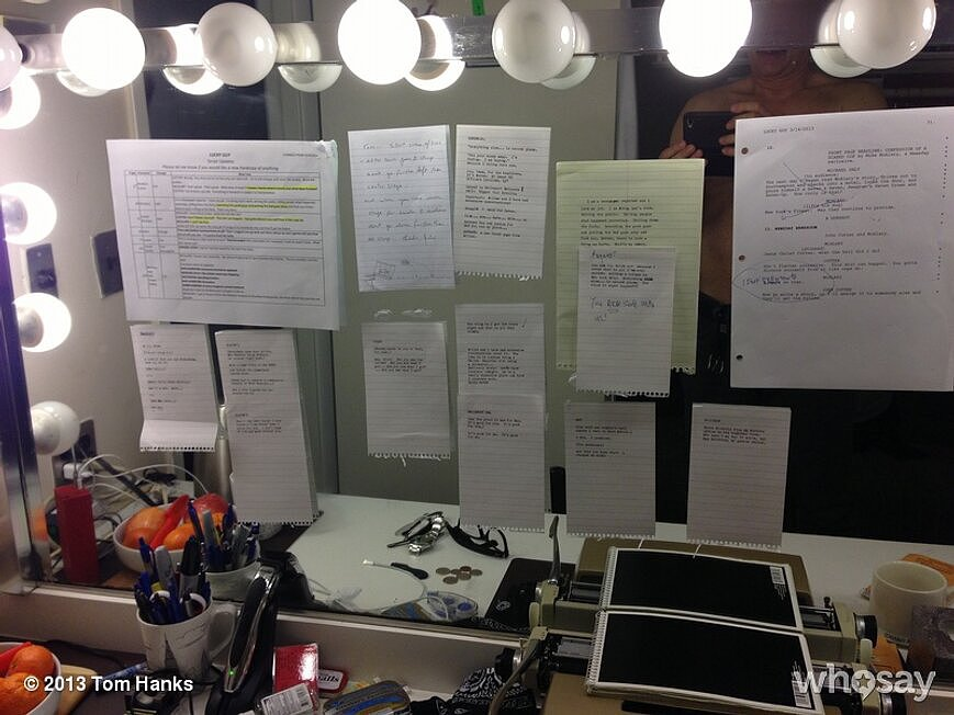 Tom Hanks gave us a peek of what his dressing room looks like. Source: Tom Hanks on WhoSay