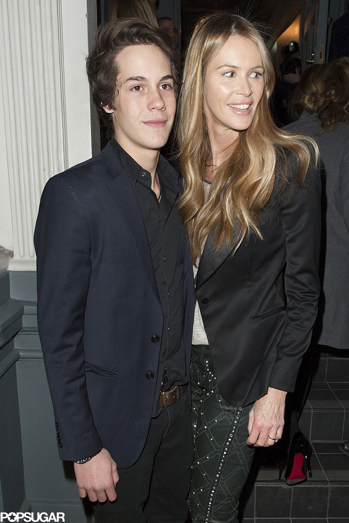 Elle Macpherson donned a black blazer and patterned pants.