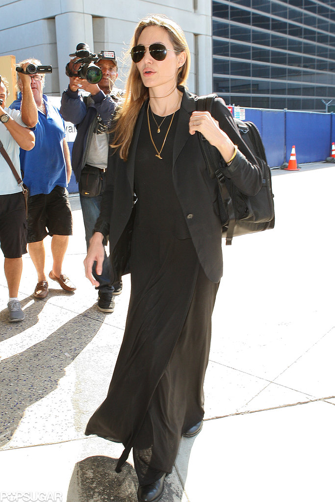 Angelina Jolie landed in LA on Wednesday after her philanthropy tour in Africa.