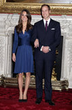 Kate Middleton and Prince William posed at St. James Palace in November 2010 to officially announce their plans to marry after the couple became engaged during a Kenyan vacation in October that year.